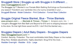 Snuggies google search results and meta descriptions