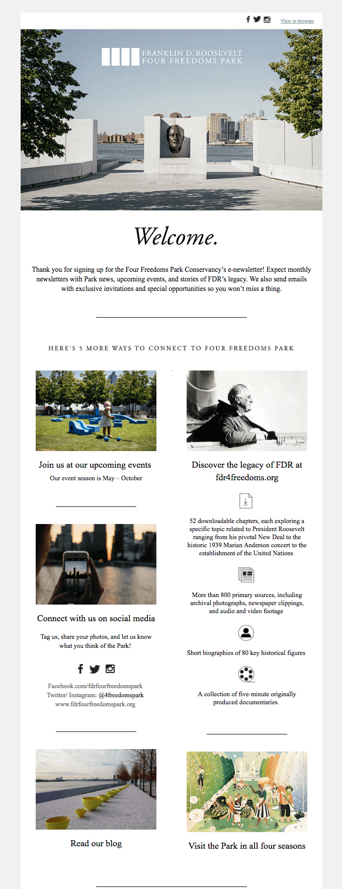 Four Freedoms Park welcome email