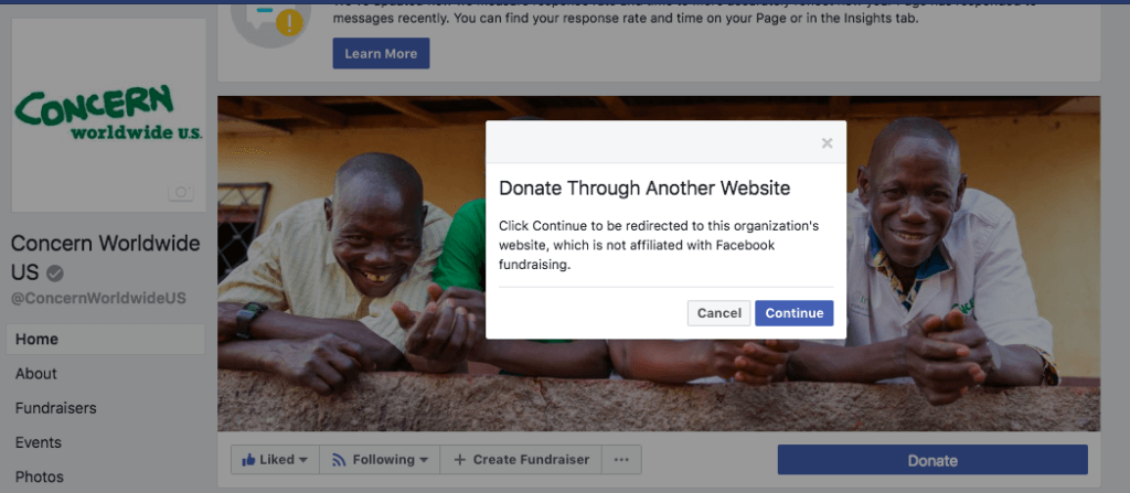 Facebook donate via an external website