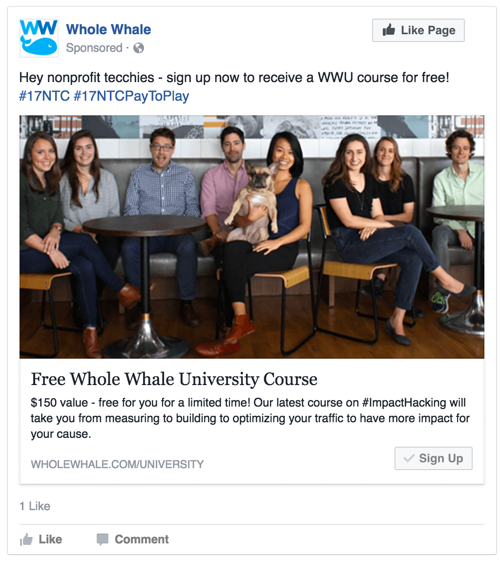 Facebook conversion ad featuring Whole Whale staff