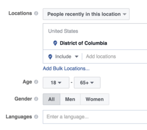 Facebook ad geotargeting People Recently in a location