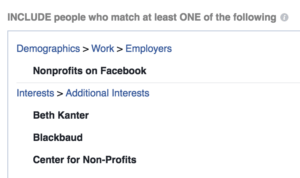 Nonprofit technology targeting on Facebook
