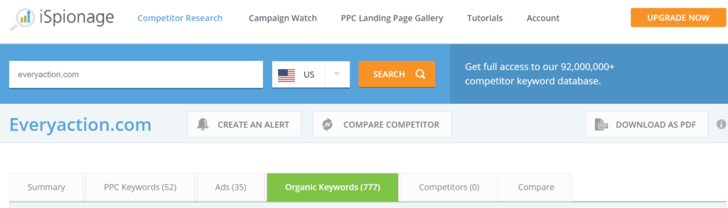 iSpionage SEO Competitors Keywords Step 3