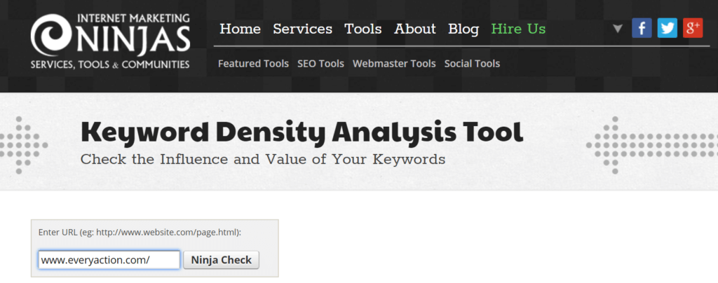 Internet Marketing Ninjas - Keyword Density Tool Step 1