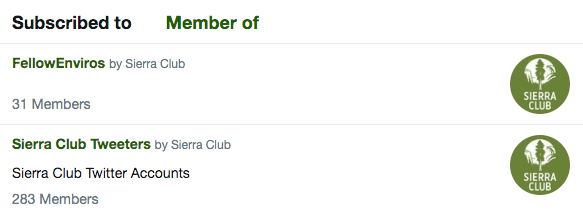 Twitter lists by the Sierra Club