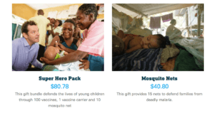 UNICEF donation ask example