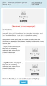 donation email template $ or $$ donors