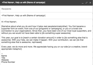 top donors email template