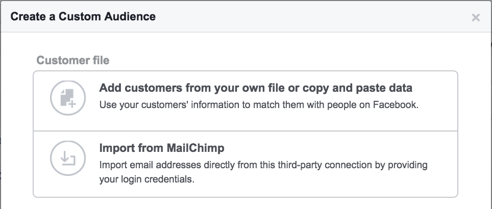 facebook retargeting customer file