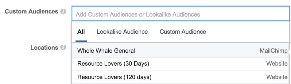 facebook retargeting audience location