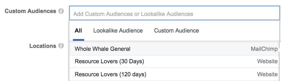 facebook retargeting audience location
