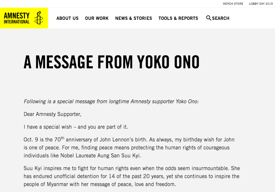 Amnesty International social proof example