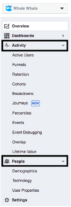 A screenshot of the Facebook Analytics navigation menu.