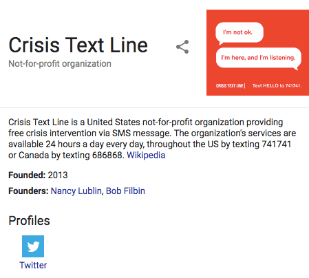 Crisis Text Line Organization Schema Example