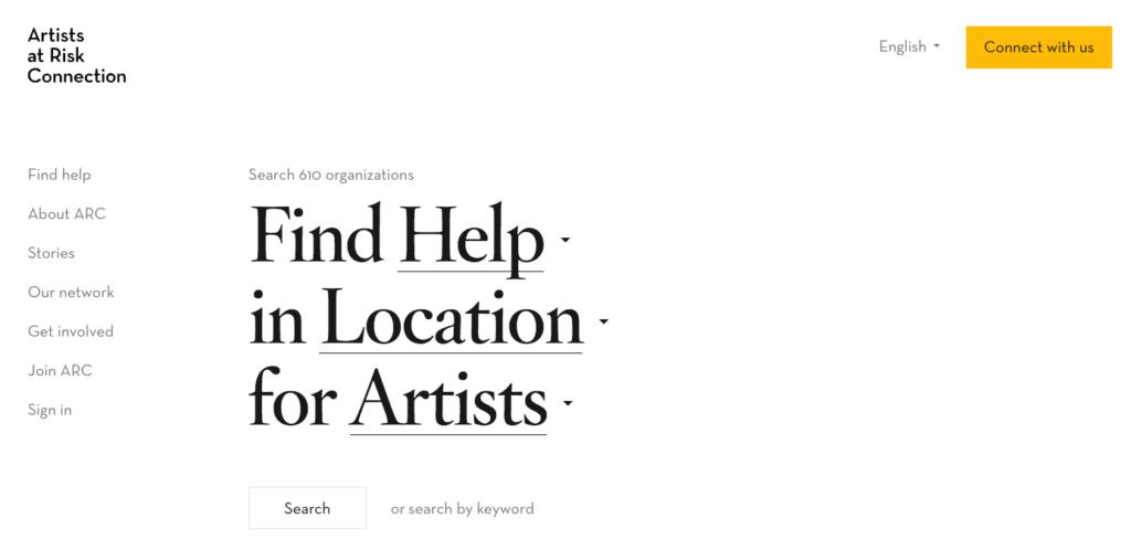 Artist at Risk Connection vertical site navigation