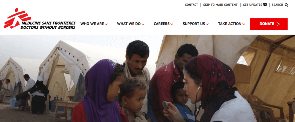 Doctors Without Borders website nav