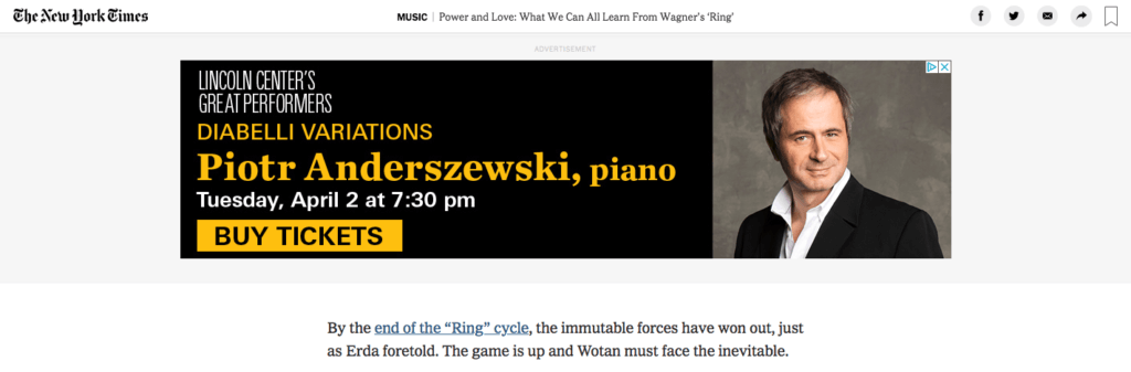 Google Display Ad for Lincoln Center on NYTimes.com