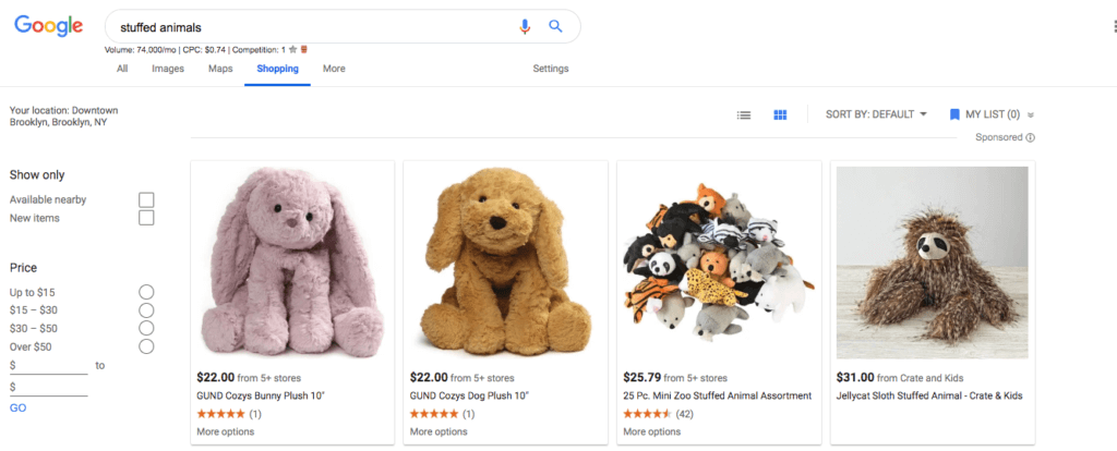 "The competitive, fluffy world of Google Shopping ads for keyword ""stuffed animals"""