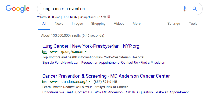 "Google Ads for keyword ""lung cancer"""