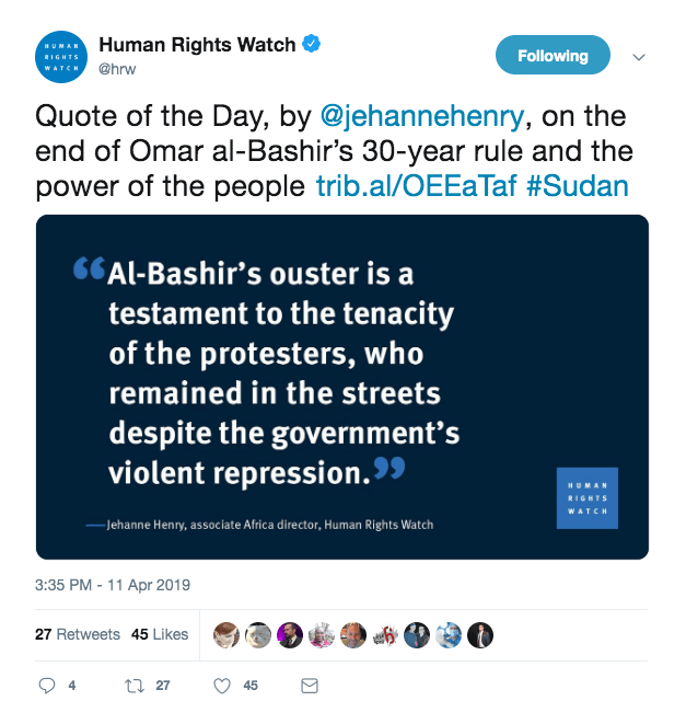 Human Rights Watch Tweet on Sudan
