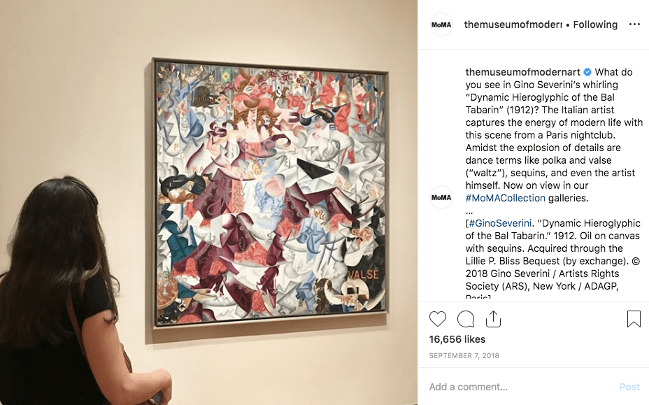 MoMA Instagram Post from Gino Severini exhibit