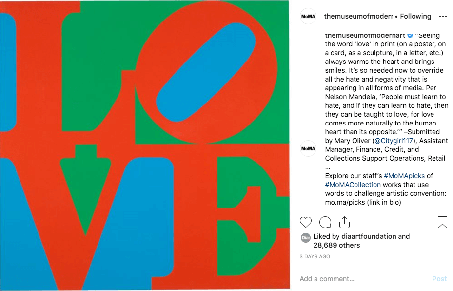 MoMA Instagram Post on staff's favorite art work