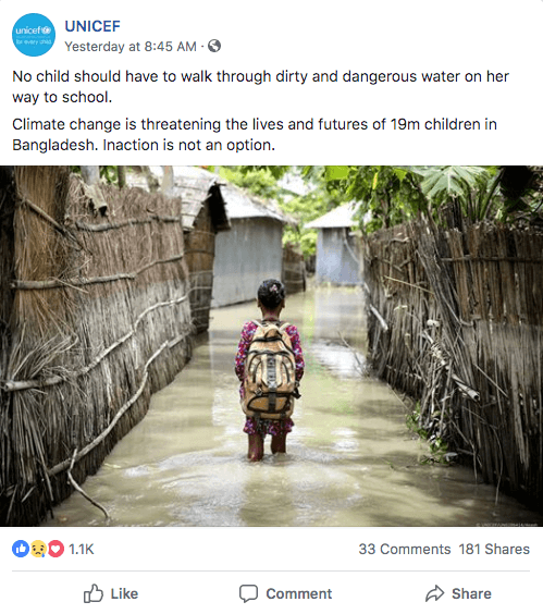 UNICEF Facebook Image Post