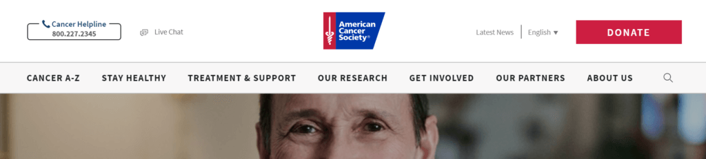 Top of Cancer.org site with donate button