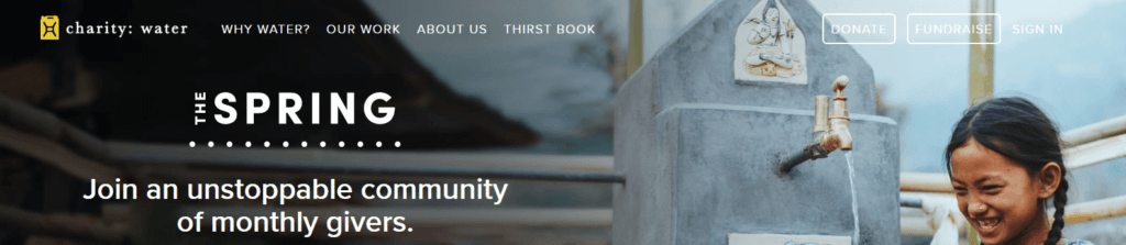 Charity: Water use of donate button