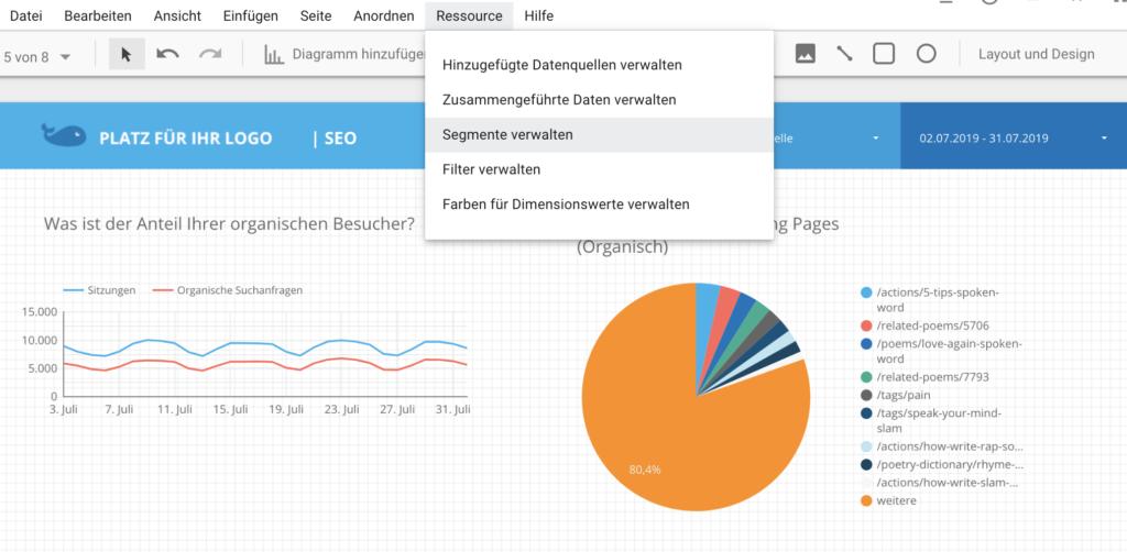 Screenshot von Data Studio - Ressourcen - Segmente verbalten