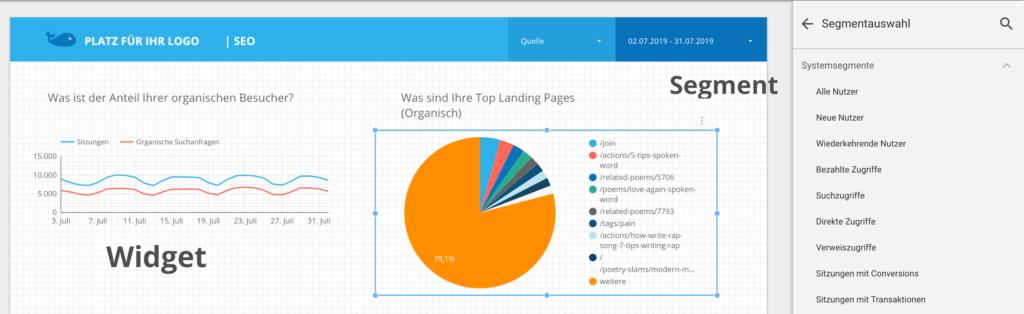 Data Studio Screenshot mit Segmentauswahl