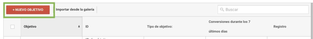 Captura de pantalla mostrando la opción de crear nuevo objetivo en google analytics
