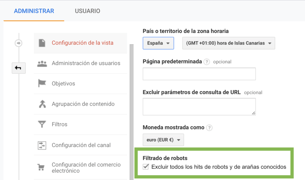 Captura de pantalla de la ventana de configuración de vista de Google Analytics - Marcar la casilla filtrado de robots