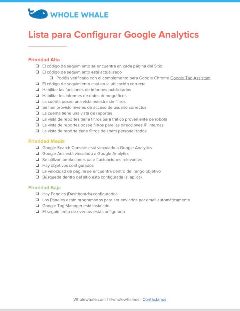 Lista de pasos para configurar Google Analytics de manera correcta