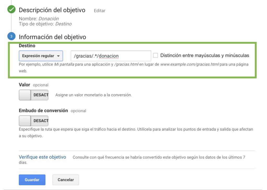 Captura de pantalla de un objetivo configurado para seguir donaciones usando expresiones regulares