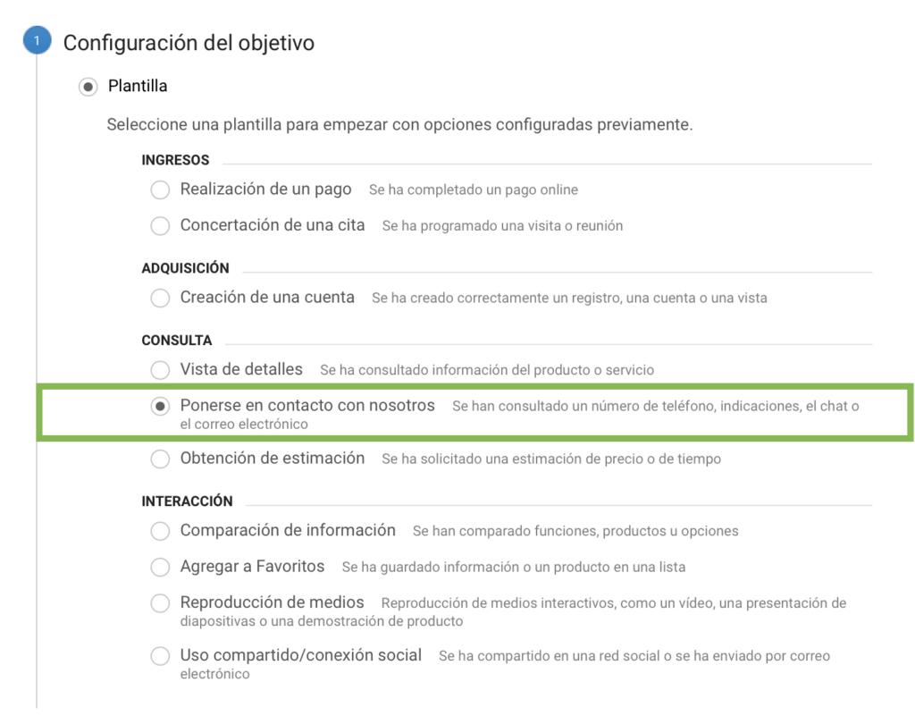 opciones de plantilla para crear un objetivo en google analytics