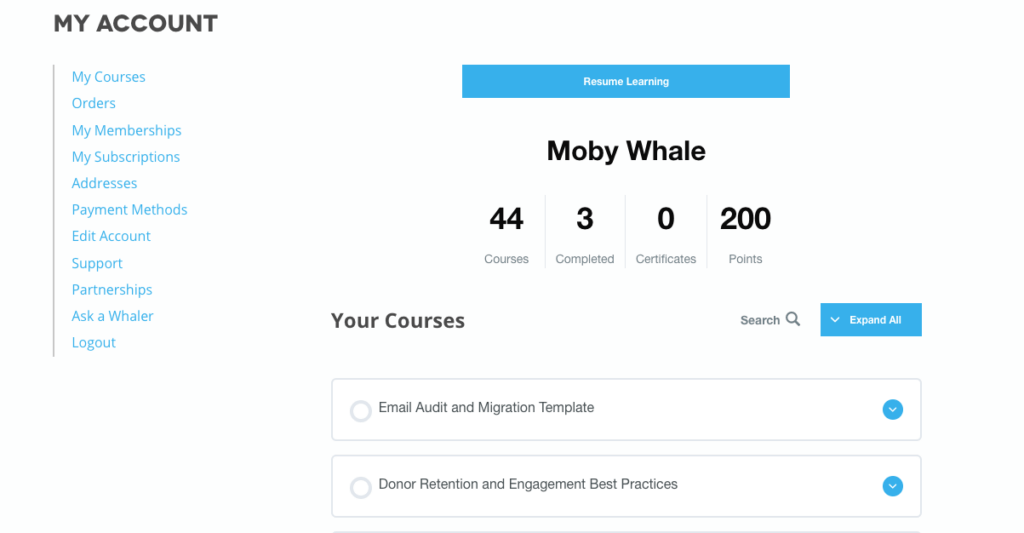 Moby Whale's Whole Whale University account dashboard where he is enrolled in 44 courses with 3 completed and 200 points