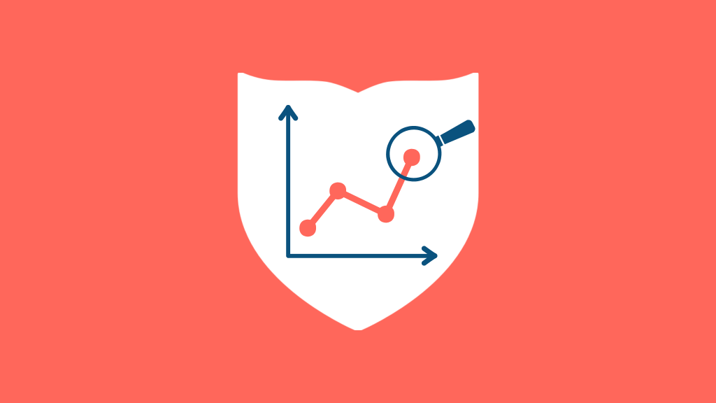 a magnifying glass looking at an upward trending graph in a crest on a salmon colored rectangle