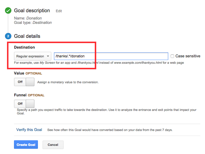 Google Analytics Goal with Regular Expression