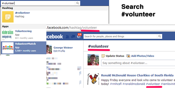 Facebook Hashtag Volunteer