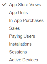 iTunes App Analytics Dropdown Menu